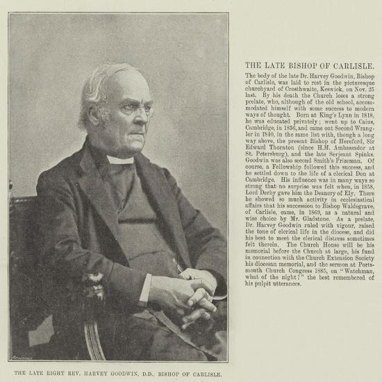 The Late Right Reverend Harvey Goodwin, Dd, Bishop of Carlisle--Giclee Print