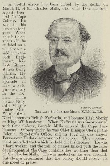 The Late Sir Charles Mills--Giclee Print