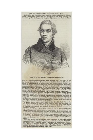 The Late Sir Henry Halford, Baronet--Giclee Print