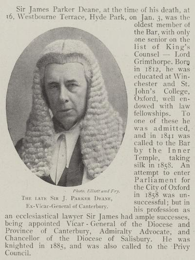 The Late Sir J Parker Deane, Ex-Vicar-General of Canterbury--Giclee Print