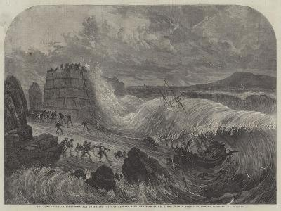 The Late Storm at Kingstown, Bay of Dublin, Loss of Captain Boyd and Five of His Crew--Giclee Print
