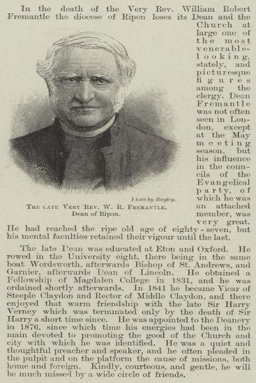 The Late Very Reverend W R Fremantle, Dean of Ripon--Giclee Print