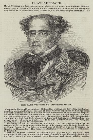 The Late Vicomte De Chateaubriand--Giclee Print
