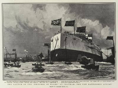 The Launch of the Princess of Wales, at Chatham, the New Battleship Afloat-Charles Edward Dixon-Giclee Print
