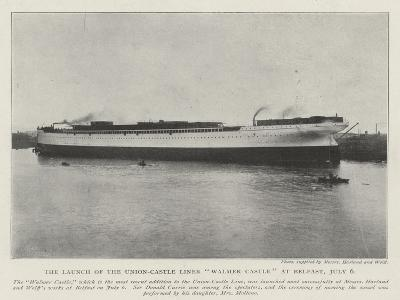 The Launch of the Union-Castle Liner Walmer Castle at Belfast, 6 July--Giclee Print