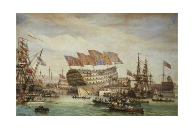 The Launching of Hms Trafalgar at Chatham 26 July 1820, 1836-C^ John Mayle Whichelo-Giclee Print