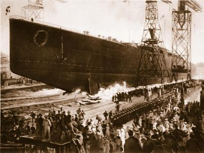 The Launching of the Armoured Cruiser 'Hindenburg'--Giclee Print