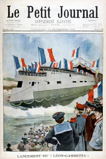 The Launching of the Armoured Cruiser 'Leon Gambetta, France, 1901--Giclee Print