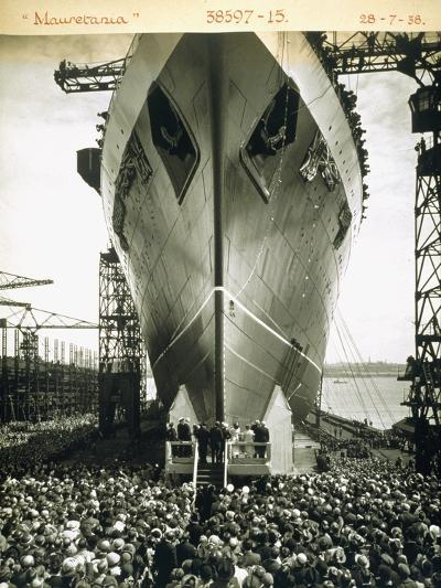 The Launching of the Rms Mauretania, 28th July 1938-English Photographer-Giclee Print