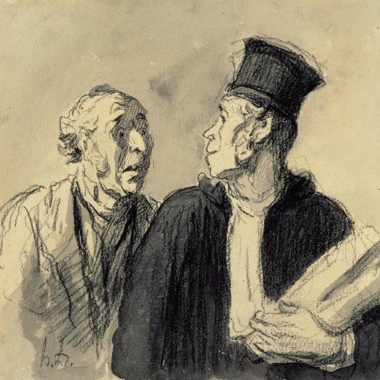 The Lawyer and His Client-Honore Daumier-Giclee Print