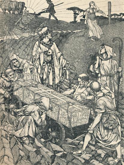 'The Legend of St. Cuthbert, Pen Drawing', 1891-1920, (1923)-Robert Spencer-Giclee Print