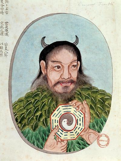 "The Legendary Emperor Fu-Hsi, Illustration from a ""Pen Tsao,"" 18th-19th Century--Giclee Print"