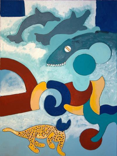The Leopard Has a Blue Head, 2009-Jan Groneberg-Giclee Print