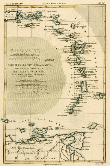 The Lesser Antilles or the Windward Islands, with the Eastern Part of the Leeward Islands, from…-Charles Marie Rigobert Bonne-Giclee Print