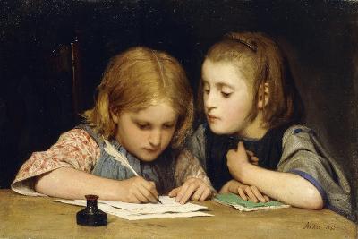 The Lesson; Der Schreibunterricht, 1865-Albert Anker-Giclee Print