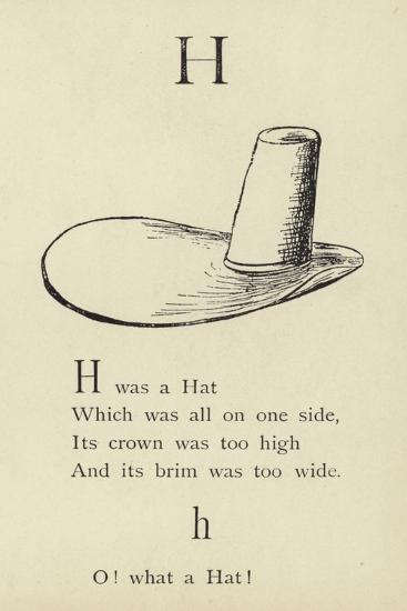 The Letter H-Edward Lear-Giclee Print