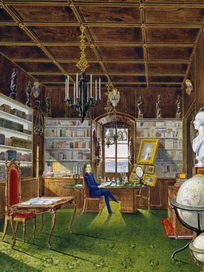 The Library in Villa Lazarovich, Trieste Residence of Maximilian of Habsburg--Giclee Print
