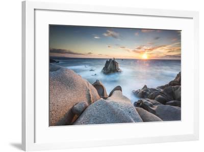 The light of sunset on blue sea framed by cliffs, Capo Testa, Santa Teresa di Gallura, Italy-Roberto Moiola-Framed Photographic Print