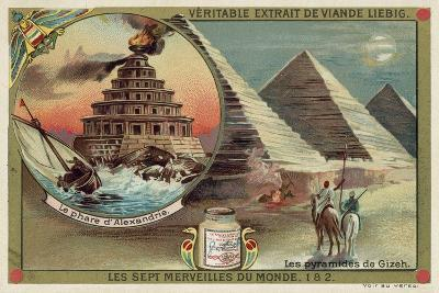 The Lighthouse of Alexandria and the Pyramids of Giza, Egypt--Giclee Print