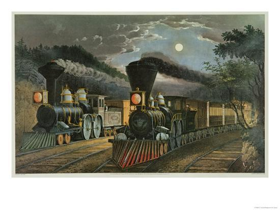 The Lightning Express Trains, 1863-Currier & Ives-Giclee Print
