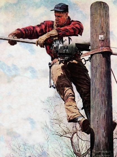 The Lineman (or Telephone Lineman on Pole)-Norman Rockwell-Giclee Print