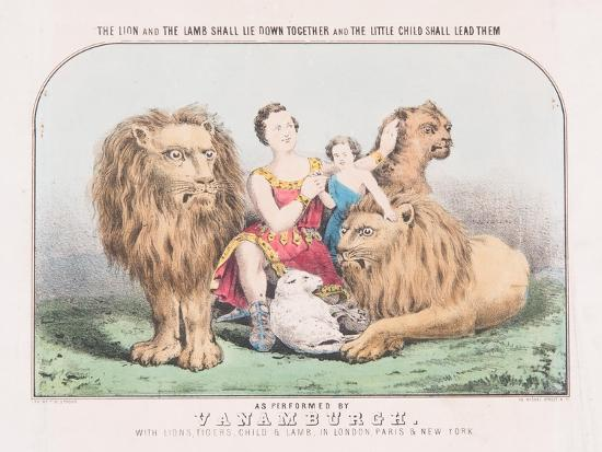 The Lion and the Lamb Shall Lie Down Together and The Little Child Shall Lead Them, c.1840-T. W. Strong-Giclee Print