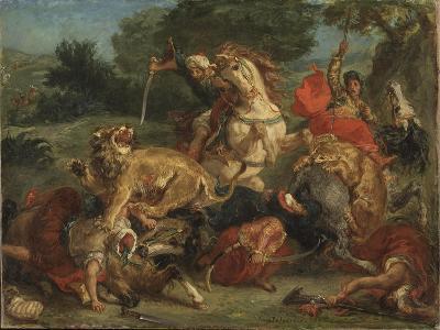 The Lion Hunt, 1855-Eugene Delacroix-Giclee Print