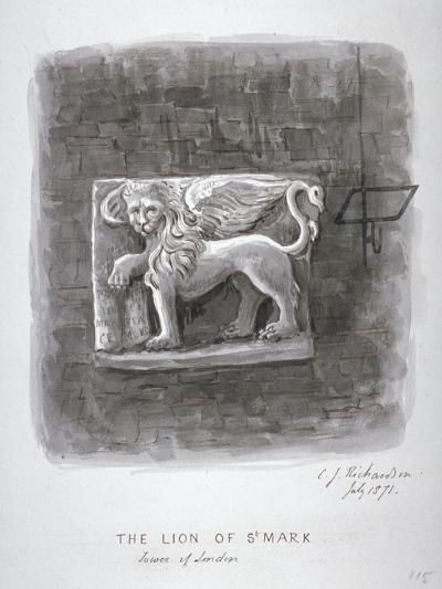 The Lion of St Mark, Tower of London, 1871-Charles James Richardson-Giclee Print