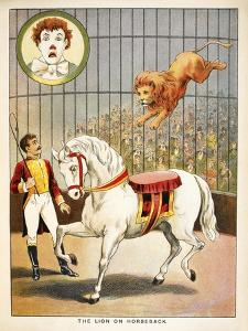 The Lion On Horseback'. a Lion Tamer, Horse and Lion, in a Circus Act