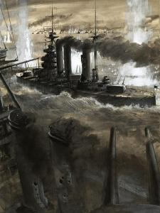 The Lion, Turns Towards the German Fleet During the Battle of Jutland