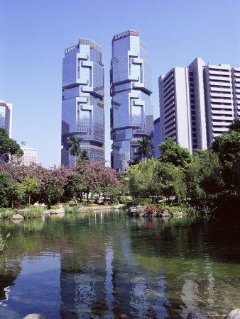 The Lippo Towers from Hong Kong Park, Central, Hong Kong Island, Hong Kong, China, Asia-Amanda Hall-Photographic Print