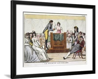 The Literary Society, Colored by Martinet, France, 19th Century--Framed Giclee Print