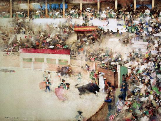 """The Little Bull Fight: """"Bravo Toro""""-Arthur Melville-Giclee Print"""