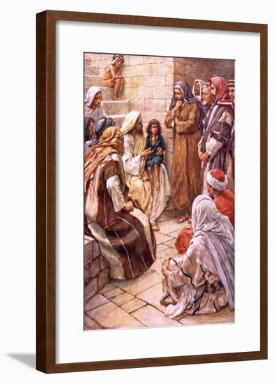The Little Child Set in their Midst-Harold Copping-Framed Giclee Print