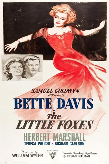 THE LITTLE FOXES, l-r: Teresa Wright, Herbert Marshall, Bette Davis on poster art, 1941--Art Print