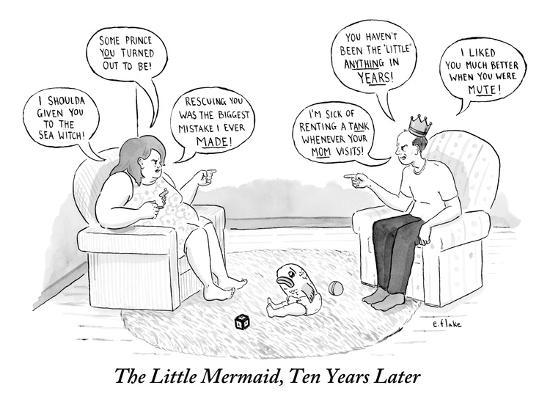 The Little Mermaid, Ten Years Later - New Yorker Cartoon-Emily Flake-Premium Giclee Print