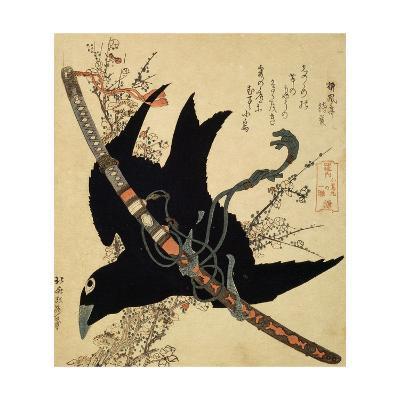 The Little Raven. Minamoto Clan Sword, C1823-Katsushika Hokusai-Giclee Print