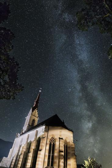 The Locherboden Church with the Milky Way in the Background-Niki Haselwanter-Photographic Print