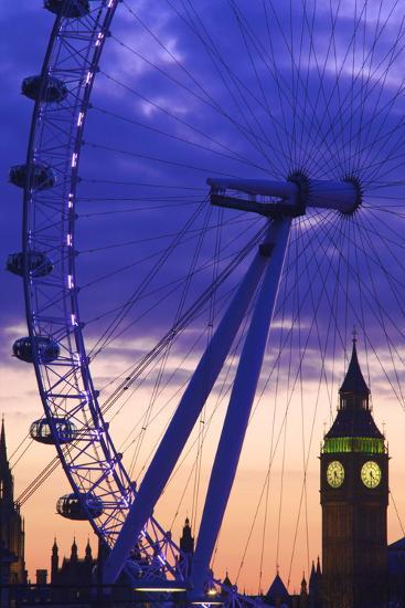 The London Eye and Big Ben, London, England, United Kingdom, Europe-Neil Farrin-Photographic Print