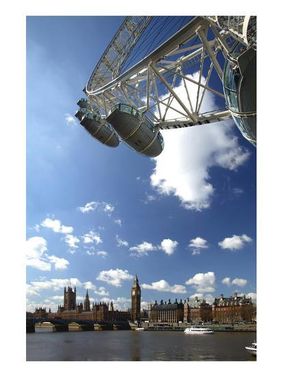 The London Eye, Big Ben and Houses of Parliament, London, England, United Kingdom of Great Britain--Art Print