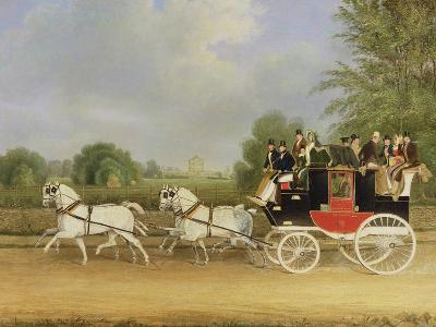 The London-Farringdon Coach Passing Buckland House, Berkshire-James Pollard-Giclee Print