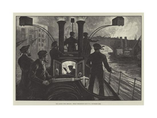 The London Fire Brigade, Steam Fire-Engine Going to a Riverside Fire-William Bazett Murray-Giclee Print