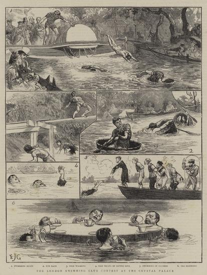 The London Swimming Club Contest at the Crystal Palace-Edward John Gregory-Giclee Print