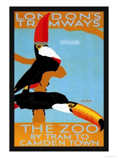 The London Zoo: South American Toucans-Tony Castle-Art Print