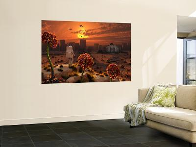 The Lone Figure of an Astronaut Explorer Stands Out in an Alien Landscape-Stocktrek Images-Wall Mural