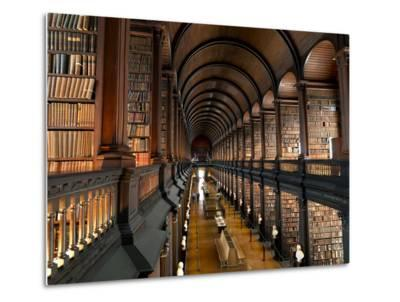 The Long Room in the Old Library at Trinity College in Dublin-Chris Hill-Metal Print
