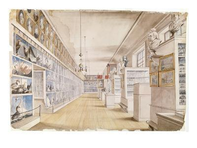 The Long Room, Interior of Front Room in Peale's Museum, 1822 (W/C over Graphite on Paper)-Charles Willson Peale-Giclee Print