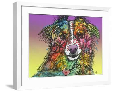 The Look, Dogs, Pets, Animals, White Snout, Purple yellow, Long hair, Pop Art, Stencils, Colorful-Russo Dean-Framed Giclee Print