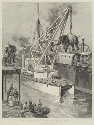 The Looshai Expedition, Shipping Elephants on Board the Simla at Calcutta-William Heysham Overend-Giclee Print