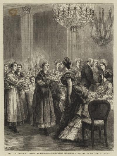 The Lord Mayor of London at Boulogne, Fisherwomen Presenting a Bouquet to the Lady Mayoress-Godefroy Durand-Giclee Print